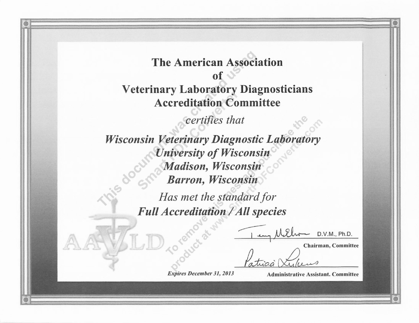 Wisconsin veterinary diagnostic laboratory wi accreditation certificate 1betcityfo Image collections